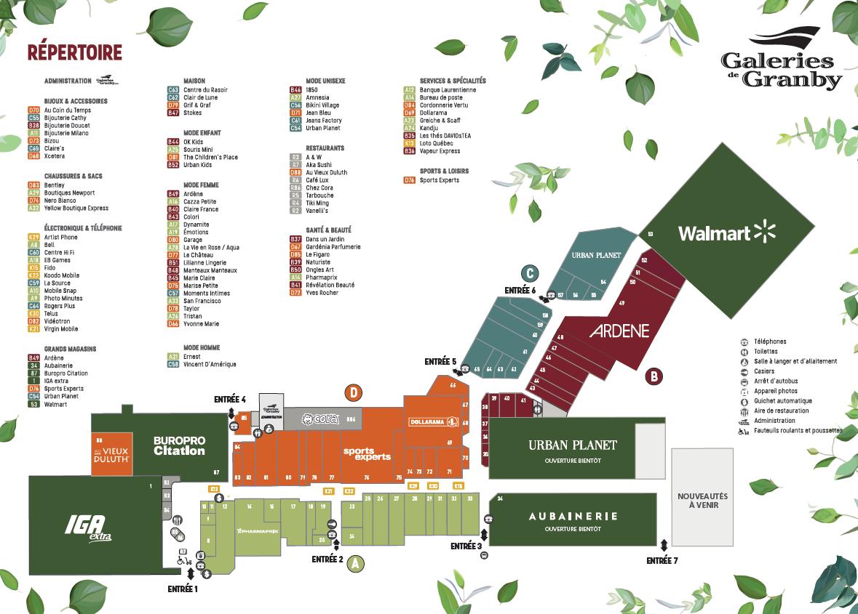 Shopping Center Map | Galeries de Granby